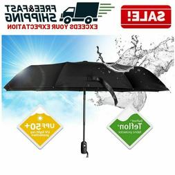 Automatic Open Close Umbrella Folding Windproof Compact Doub