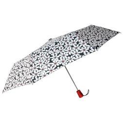 """Totes Automatic Umbrella 42"""" White Flower Auto Open Rain Sun"""