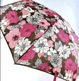 Vera Bradley Automatic Umbrella Mocha Rouge Pink  RARE NWT G