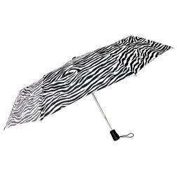 """Totes Automatic Zebra Umbrella 42"""" Large Auto Open Sun Trave"""