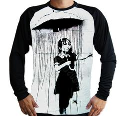 Banksy Girl Rain Umbrella Art UV Protected UPF 50 Long Sleev