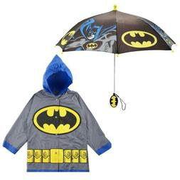DC Comics Batman Slicker and Umbrella Rainwear Set, Little B