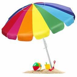BCP Tilt Rainbow Beach Umbrella W/ Carrying Case & Anchor -
