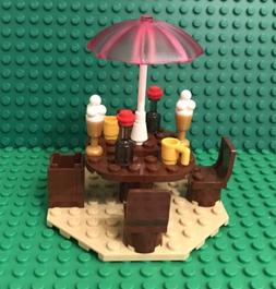 Lego Beach House Picnic Table W/ Umbrella Stand,chairs,mug,i