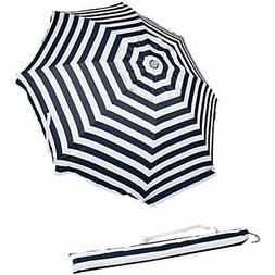 AmazonBasics Beach Umbrella - Navy Blue striped