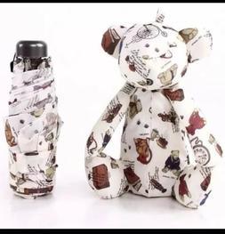 Bear Rabbit Polka Dot Mini Compact Sun Rain Umbrella Doll Cu