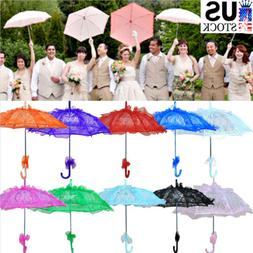 Beauty Colored Lace Embroidered Parasol Umbrella Bridal Wedd