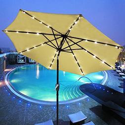 Yescom 9' Outdoor Solar Powered LED Umbrella 8 Ribs w/ 32 Li
