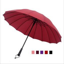 Big Umbrella Windproof Solid Color Large Unisex Long-Handle