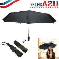 Black Automatic Travel Umbrella Auto Open Close Compact Fold
