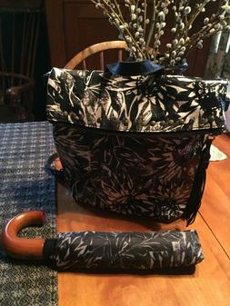 Patricia Nash black/white Sunflower backpack and umbrella