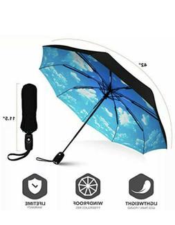Blue Sky Inverted Reverse Folding Umbrella Teflon Canopy-Rei