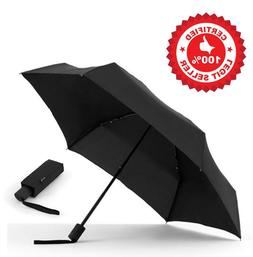 BrookStone FLATWEAR By Shedrain Travel Umbrella 1566 Black C