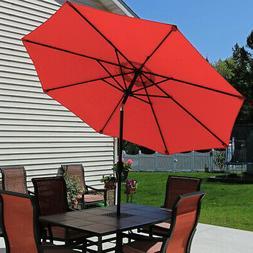 Sunnydaze Burnt Orange Aluminum 9 Foot Patio Umbrella with T