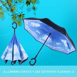 C-Handle Double Layer Inverted Umbrella Self Stand Reverse W