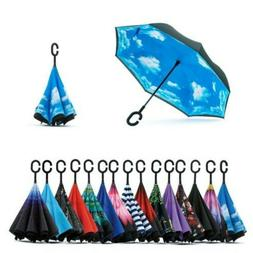 C-Handle Double Layer Umbrella UV Windproof Folding Inverted