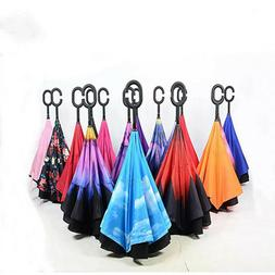 C Handle Double Layer Umbrella UV Windproof Folding Inverted