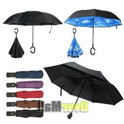 C-Handle Double Layer Umbrella UV Windproof Folding Inverted
