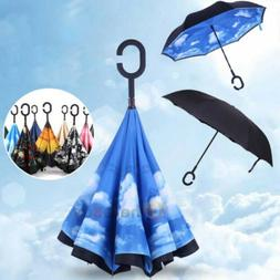 C-Handle Double Layer Umbrella Windproof Folding Inverted Up