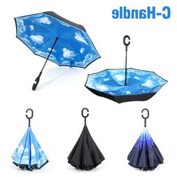 C-Handle Double Layer Umbrella Windproof Folding Inverted Up