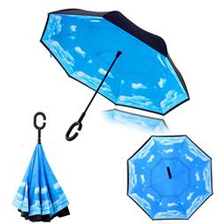 C Handle Double Layer Upside Down Reverse Opening Umbrella B