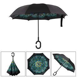 C-Handle Folding Parasols Rain Windproof Umbrella Double Lay