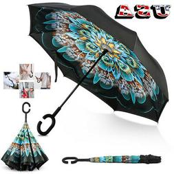 C-Handle Folding Parasols Rain Windproof Umbrella Double Lay