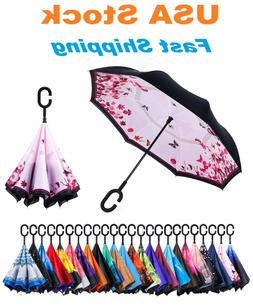 C-Handle Inverted Reverse Umbrella, Flower print