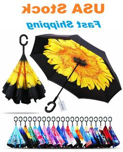 C-Handle Inverted Reverse Umbrella, Flower/Solid/Animal