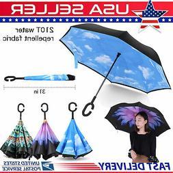 C-Handle Inverted Umbrella Folding Double Layer  Windproof U