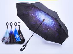 C-Handle Parasol Folding Rain Windproof Umbrella Double Laye