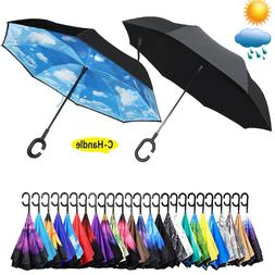 C-Handle Reverse Umbrella Double Layer Upside Down Inverted