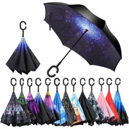 C-Handle Windproof Double Reverse Umbrella Layer Upside Down