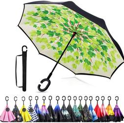 C-Handle Windproof Double Reverse Umbrella With Carrying Bag