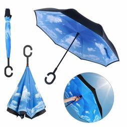 C-shaped Double Umbrella Windproof Self Stand Upside-down La