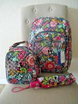 VERA BRADLEY Campus Backpack Lunch Bunch Umbrella Mickey and