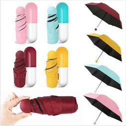 Mini Pocket Compact Umbrella Sun Anti UV 5 Fold Rain Windpro