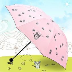 Cartoon cats printed girl folding umbrella UV protection sun