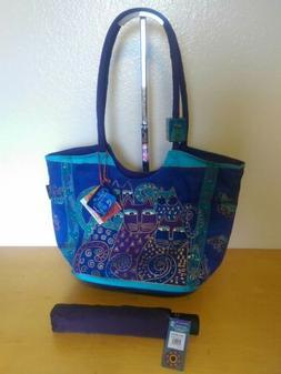 Laurel Burch Cat Tote Purse Handbag Umbrella Set Lot Blue Pu
