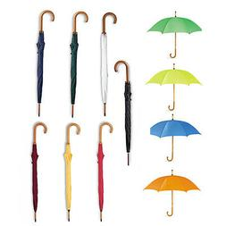 Classic Umbrella with Wooden Crooked Handle. Manual Opening