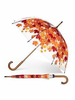 Clear & Orange Plastic / Metal Autumn Leaves Bubble Umbrella