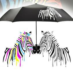 Color Changing Folding Umbrella Sunshade Zebra Parasol Rain