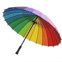 Colorful Rainbow Windproof Anti UV Sun Rain Umbrella 24K Lon