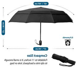 Compact Travel Umbrella w/Windproof Double Canopy Constructi