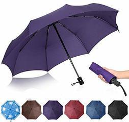QHUMO Compact Travel Umbrella Windproof, Auto Open Close Umb