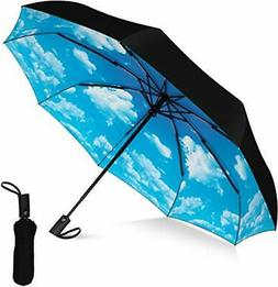 Compact Travel Umbrella-Windproof, Reinforced Canopy, Ergono