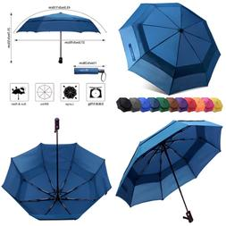 Compact Windproof Vented Automatic Travel Umbrella W Double
