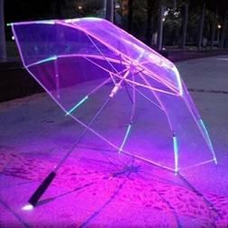 Cool Umbrella With LED Features 8 Rib Light Transparent With