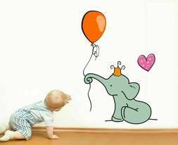 Cute Elephant Wall Sticker Baby Nursery Hearts Balloon Wall