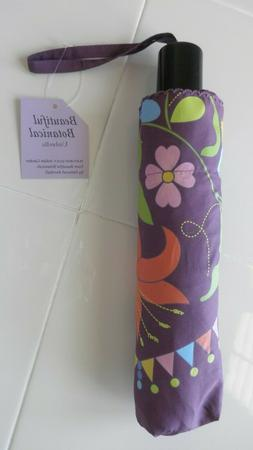 CUTE SMALL COMPACT UMBRELLA PURPLE INDIAN GARDEN PATTERN BY